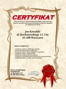 kursjoomlacertyfikat