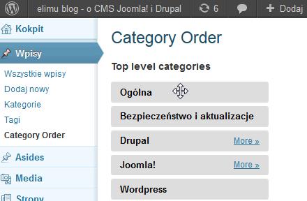 Zmiana kolejności kategorii w WordPress