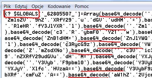 Ilość wystąpień base64decode - sugeruje złośliwy kod