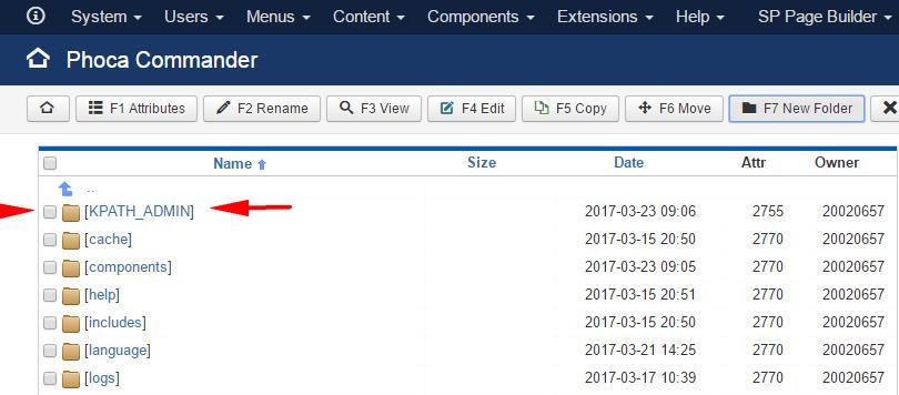 Obcy folder KPATH_ADMIN w folderze administrator