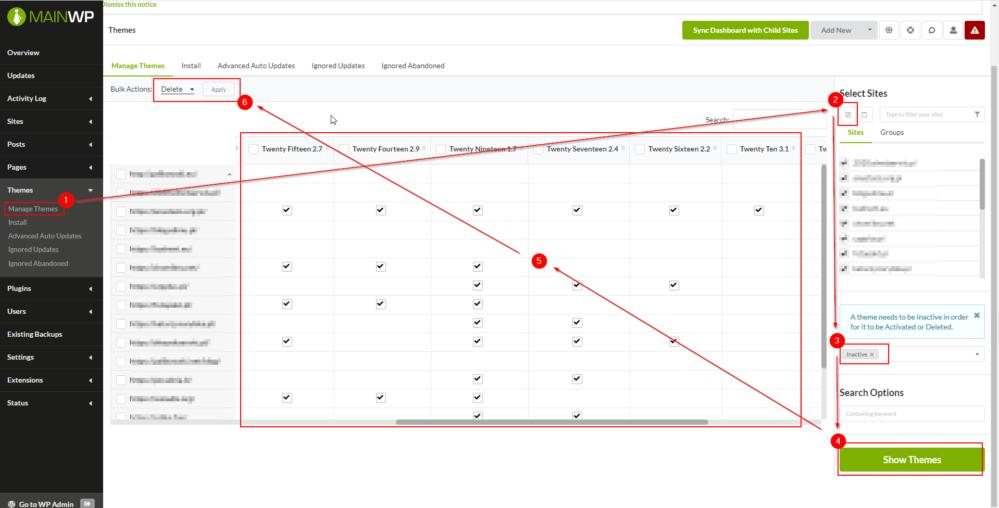usuwanie wielu motywów - zarządzanie wieloma witrynami WordPress z jednego centralnego miejsca