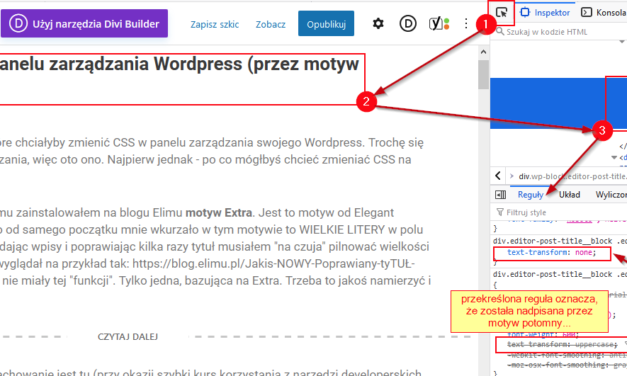 Zmiana styli CSS w kokpicie WordPress (przez motyw potomny)